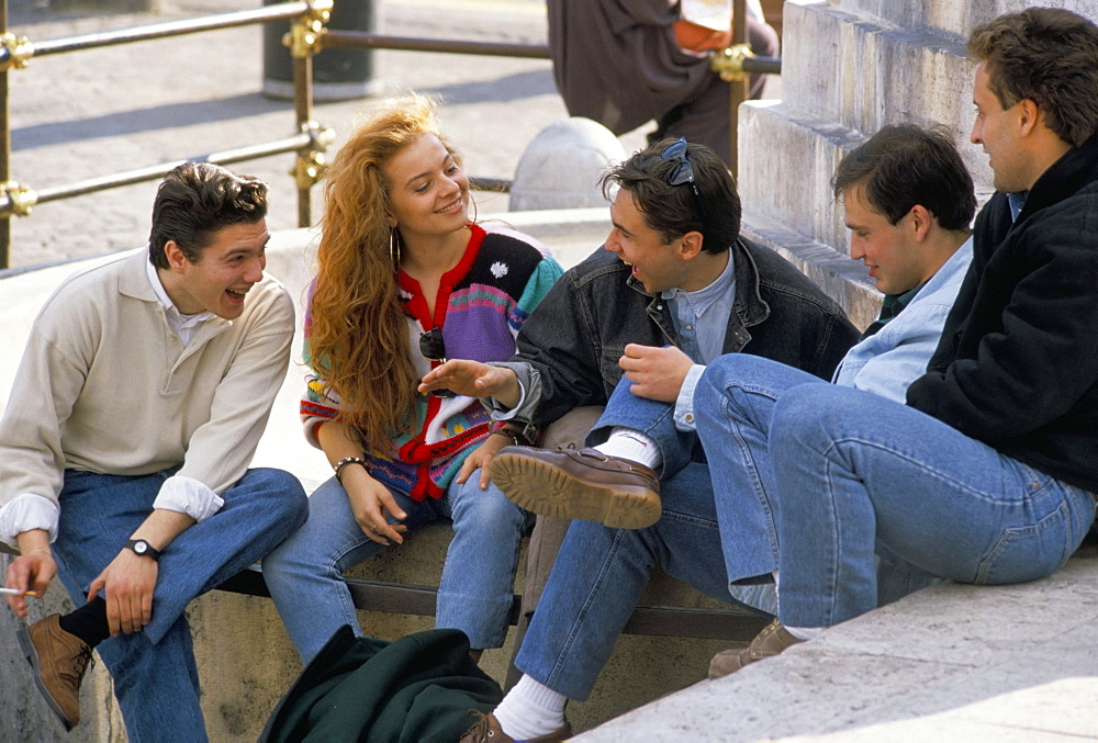 Students in Piazza di Popolo, Rome, Lazio, Italy, Europe