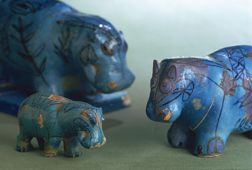 Faience animals from the 11th Dynasty in ancient Egypt, Louvre, Paris, France, Europe - 508-25134