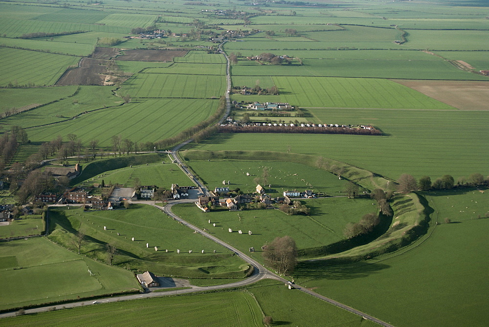 Aerial view of Avebury, UNESCO World Heritage Site, Wiltshire, England, United Kingdom, Europe
