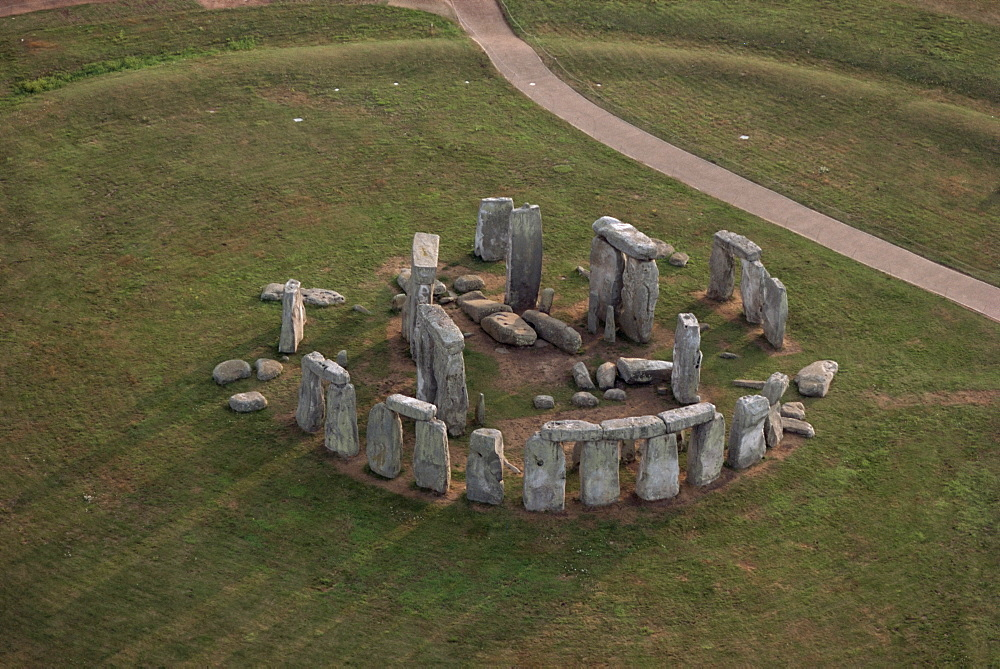Aerial view of Stonehenge, UNESCO World Heritage Site, Salisbury Plain, Wiltshire, England, United Kingdom, Europe