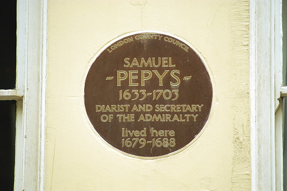 Plaque commemorating Samuel Pepys, London, England, United Kingdom, Europe - 508-36359