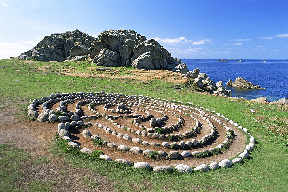 Troy Town maze, St. Agnes, Isles of Scilly, United Kingdom, Europe