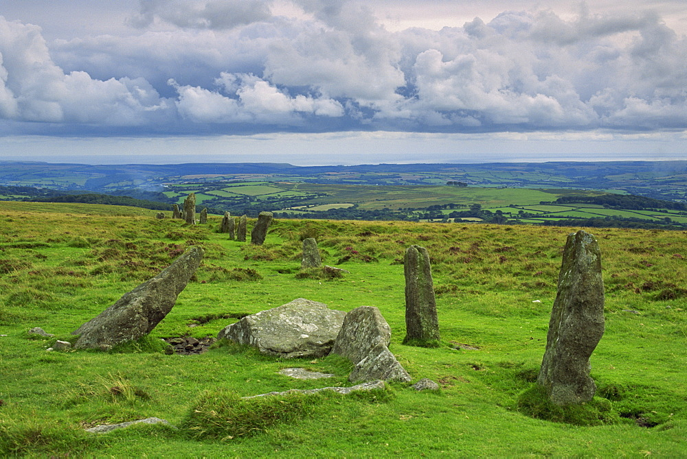 Stone Row at Stall Moor, Dartmoor National Park, Devon, England, United Kingdom, Europe - 508-43157