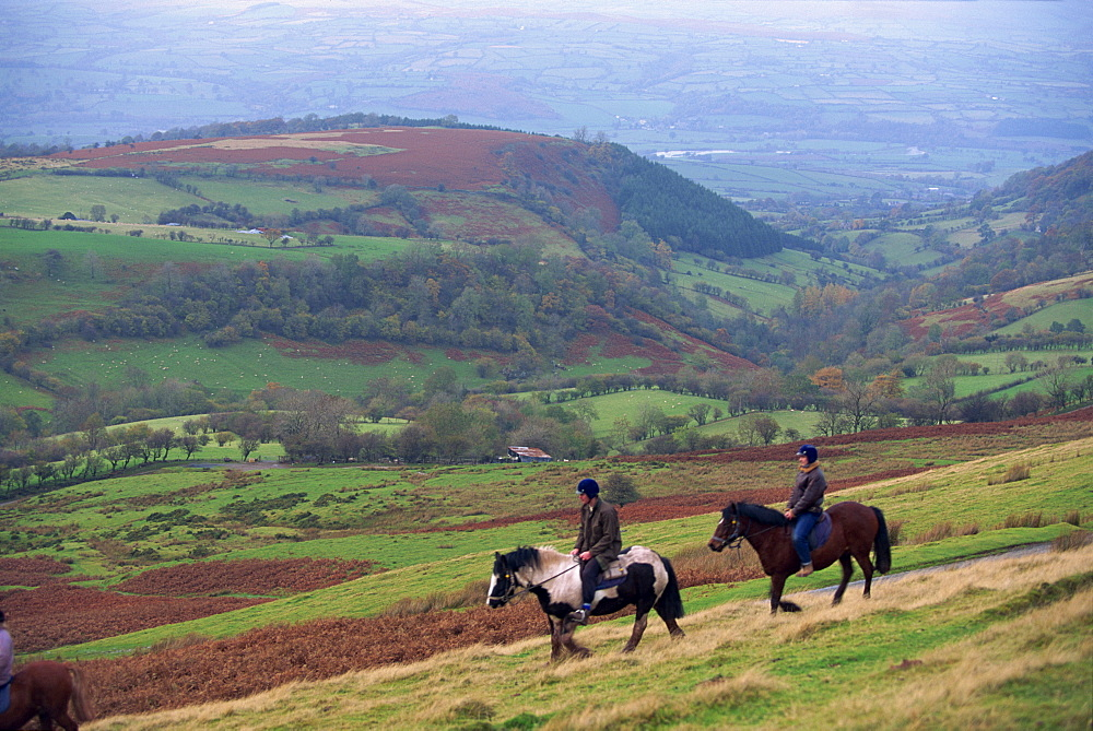 Horse riding near Gospel Pass, Black Mountains, Gwent, Wales, United Kingdom, Europe