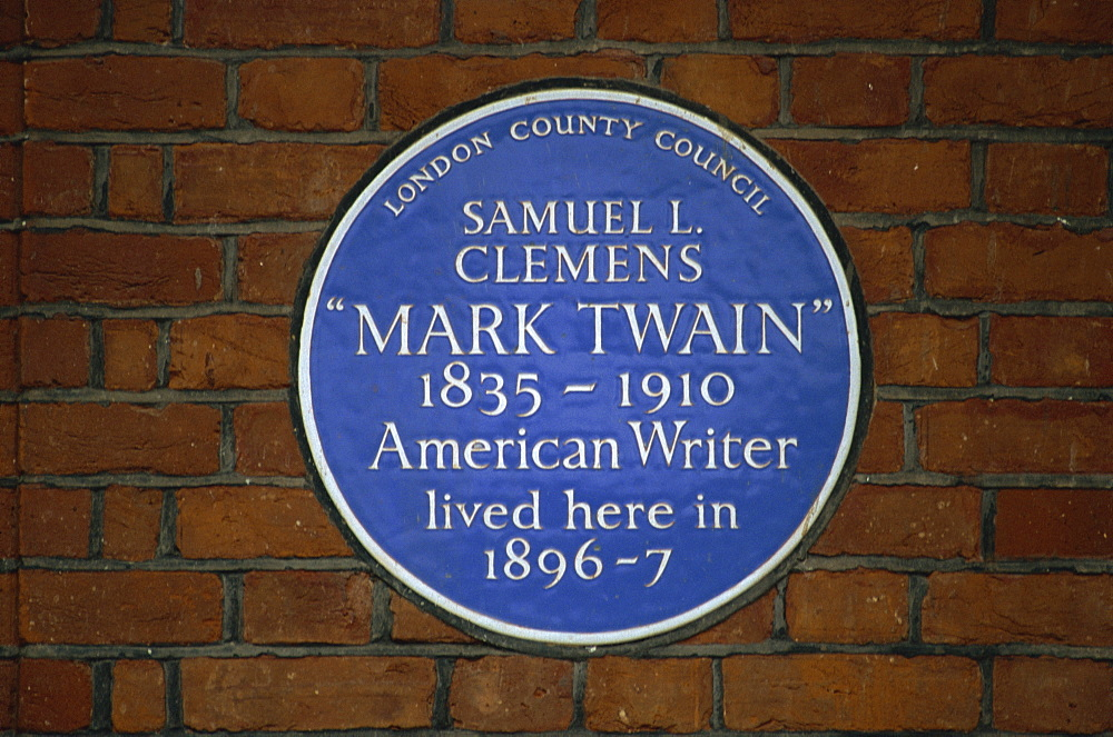 Blue plaque commemorating Mark Twain, London, England, United Kingdom, Europe - 508-45322
