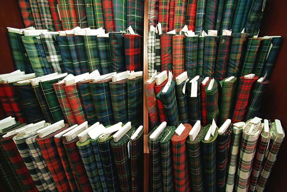 Tartan cloth, MacNaughtons Emporium, Pitlochry, Scotland, United Kingdom, Europe