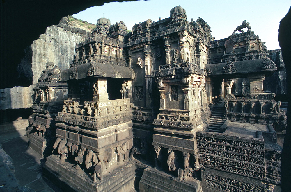Rock-cut Kailasa temple, Ellora, UNESCO World Heritage Site, near Aurangabad, Maharashtra, India, Asia