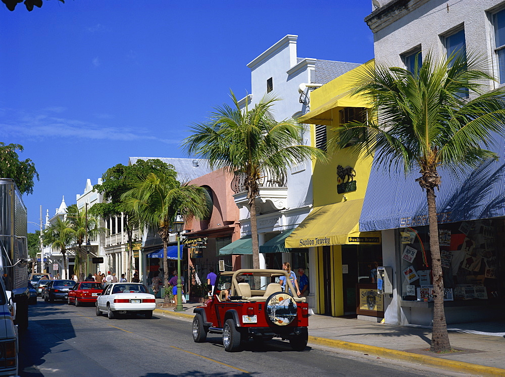 Street scene in Duval Street, Key West, Florida, United States of America, North America