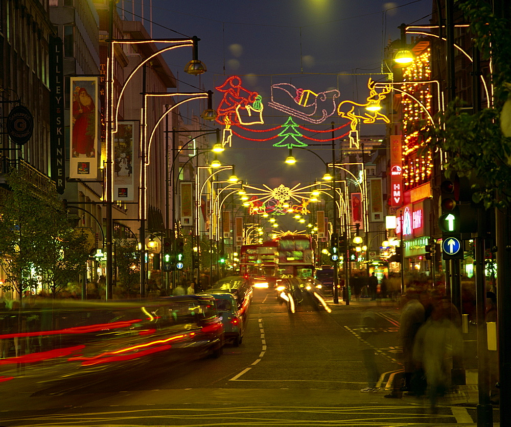 Christmas lights, Oxford Street, London, England, United Kingdom, Europe