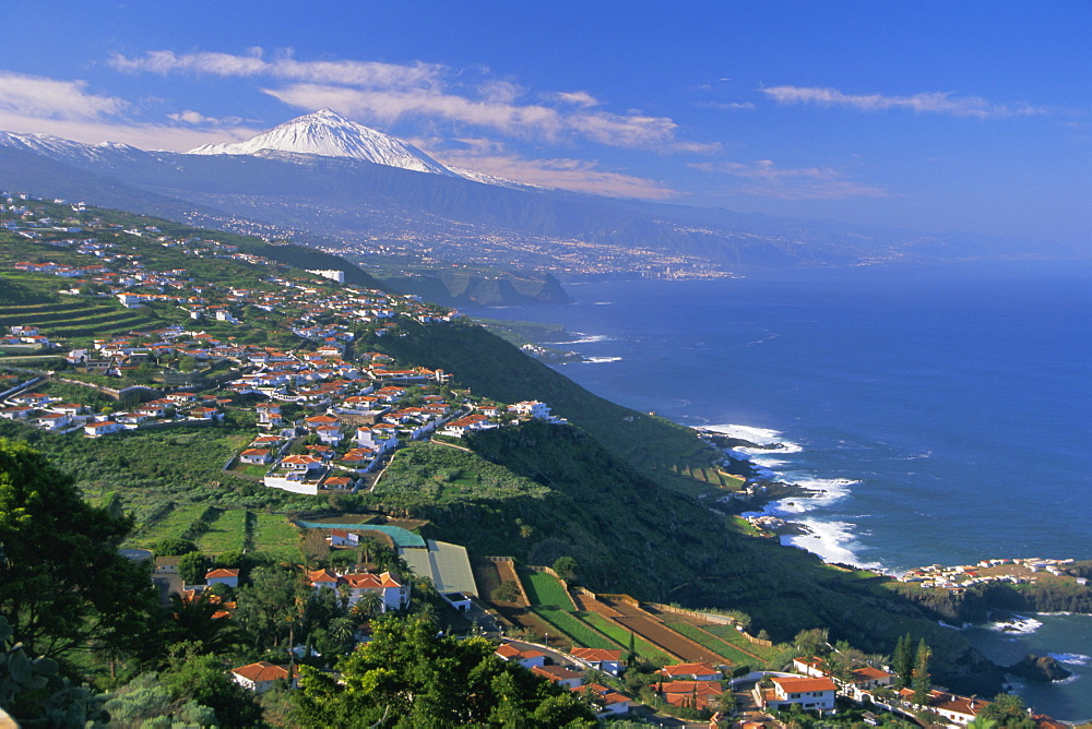 Aerial view of the north coast and Mount Teide, Tenerife, Canary Islands, Atlantic, Spain, Europe