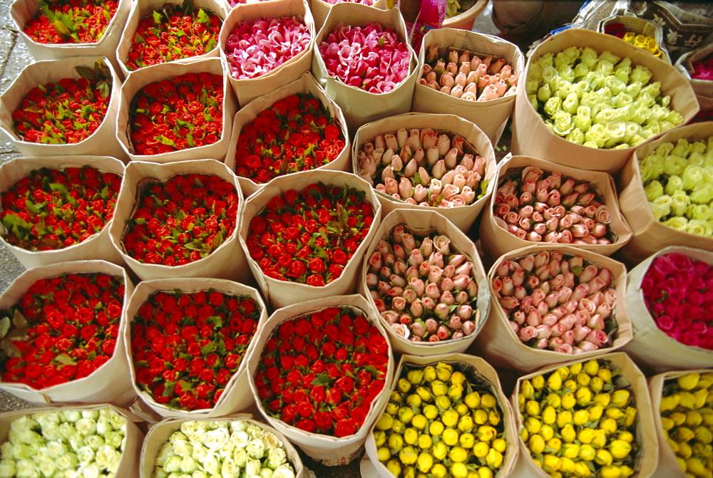 Flowers for sale, street market, Bangkok, Thailand - 526-2267