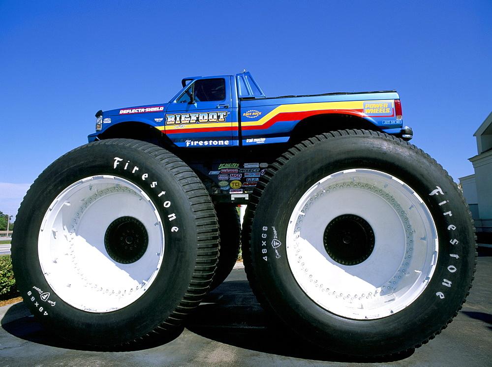 Huge tyres, Big Foot, customised car, United States of America, North America