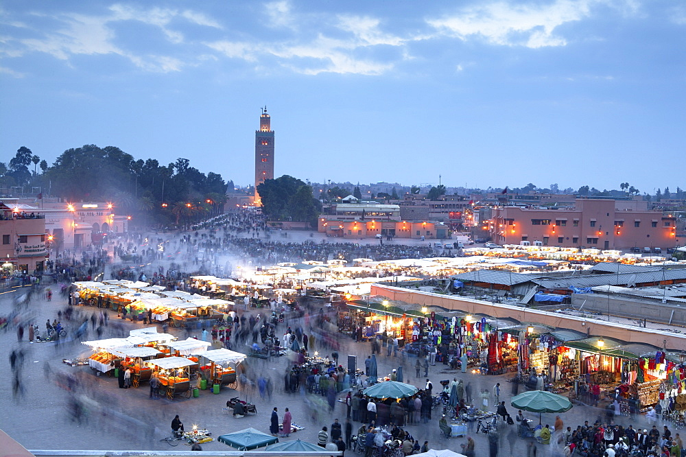 Djemma el Fna square and Koutoubia Mosque at dusk, Marrakech, Morrocco, North Africa, Africa - 526-3625