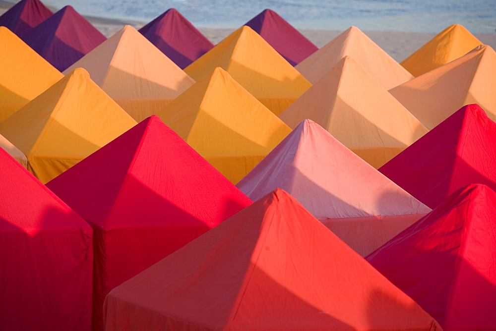 Colourful beach tents, Portugal, Europe