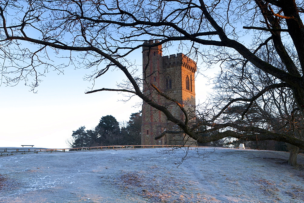 Leith Hill Tower in frost, Surrey Hills, highest point in south east England, Greensand Way, Surrey, England, United Kingdom, Europe - 526-3749