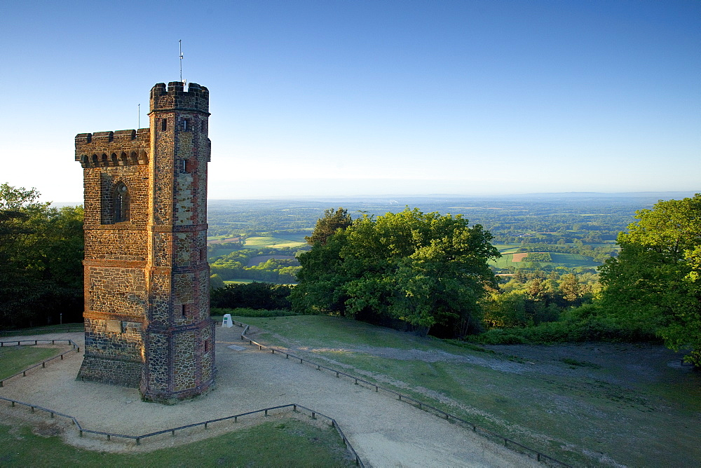 Leith Hill Tower, highest point in south east England, view sout on a summer morning, Surrey Hills, GreensandWay, Surrey, England, United Kingdom, Europe - 526-3751
