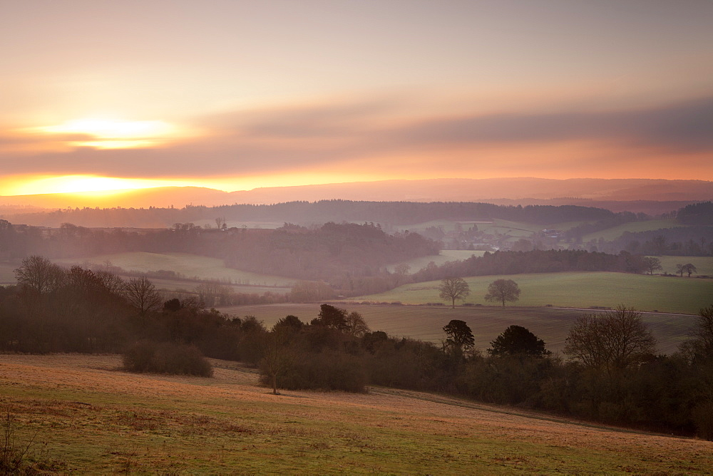 Newlands Corner view at dawn, near Guilford, Surrey Hills, North Downs, Surrey, England, United Kingdom, Europe - 526-3754