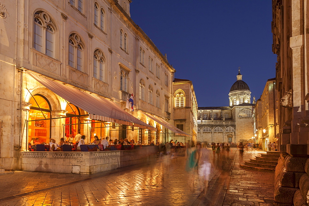 Pred Dvorom, lit up at dusk, cathedral in background, Dubrovnik, Croatia, Europe - 526-3774