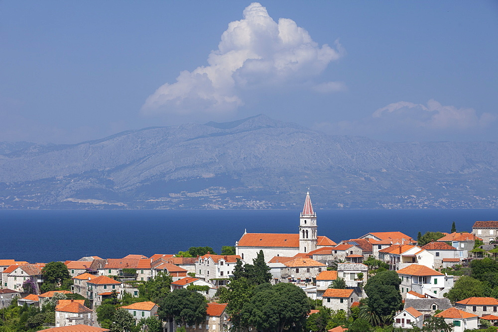 View of town with mainland in background, Postira, Brac Island, Dalmatian Coast, Croatia, Europe - 526-3780