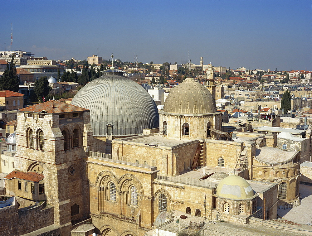 Church of the Holy Sepulchre with old city of Jerusalem behind, Israel, Middle East