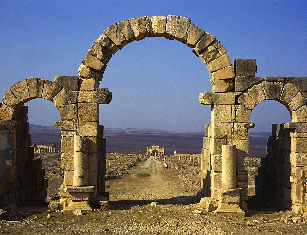 Tangier Gate, Volubilis, UNESCO World Heritage Site, Morocco, North Africa, Africa
