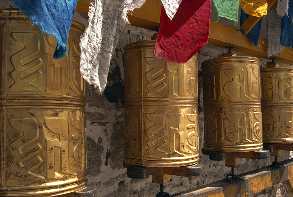 Prayer wheels in Lhasa, Tibet, China, Asia