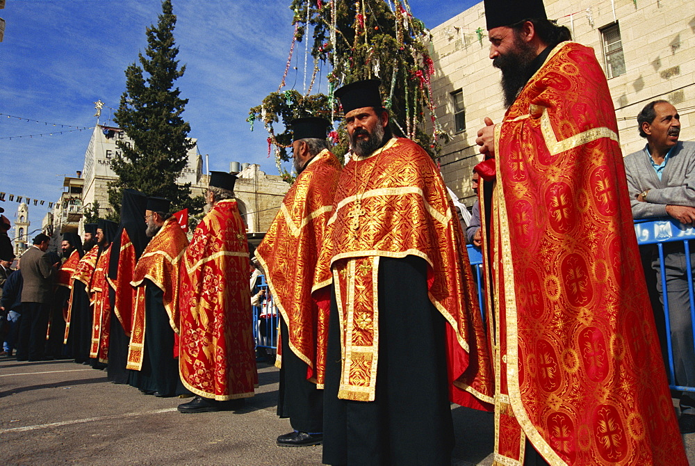 Patriarchal Guard of Honour, Orthodox Christmas Day, Bethlehem, Israel, Middle East