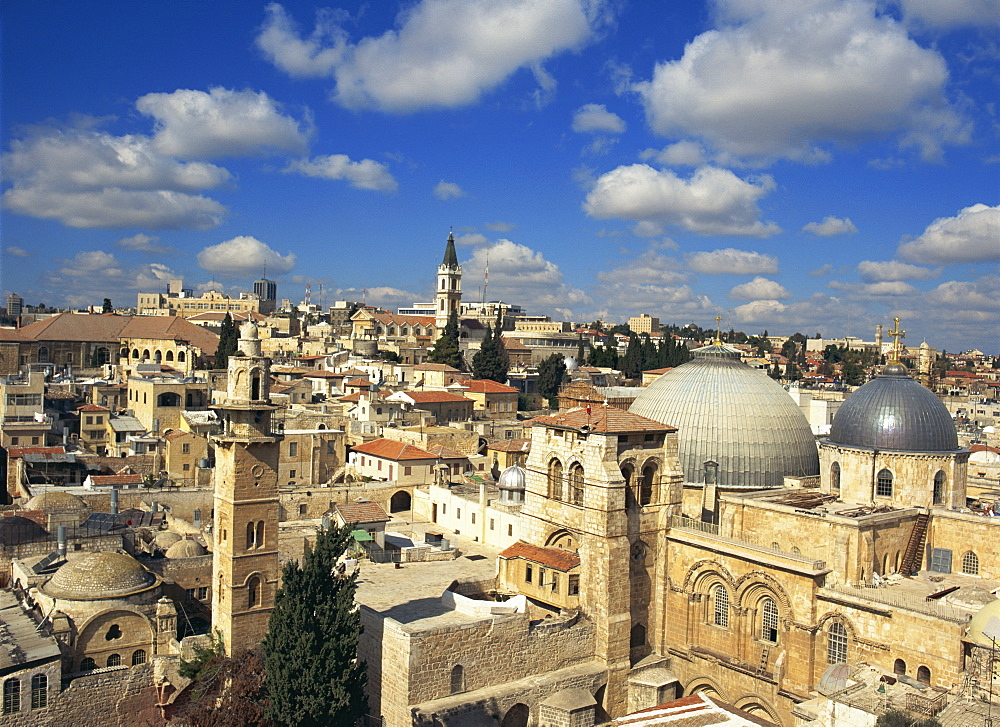 Skyline with Church of the Holy Sepulchre in the foreground and the Old City of Jerusalem, Israel, Middle East