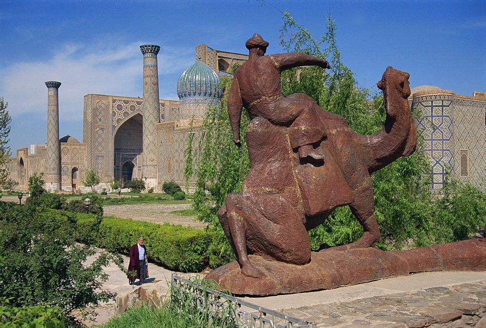 View of Registan with statue of camel, Samarkand, Uzbekistan, Central Asia, Asia