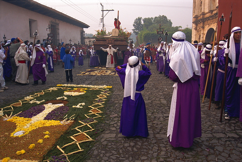 Christ's Calvary in Good Friday procession over street carpet, Antigua, Western Highlands, Guatemala, Central America