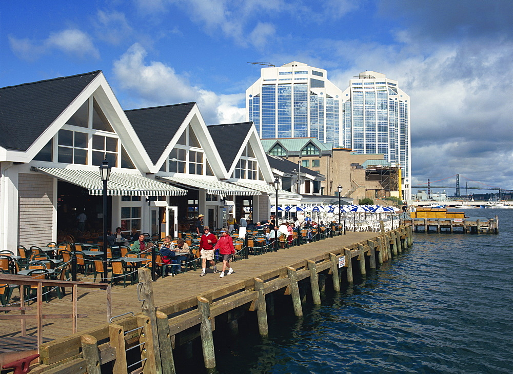 The waterfront with harbourside cafes at Halifax, Nova Scotia, Canada, North America