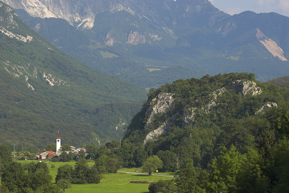 Village of Trnovo ob Soci in Soca Valley, Triglav National Park, Julian Alps, Slovenia, Europe