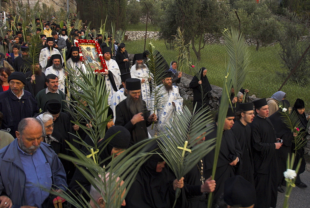 Orthodox Easter Palm procession from Betphage to the Old City on the Mount of Olives, Jerusalem, Israel, Middle East