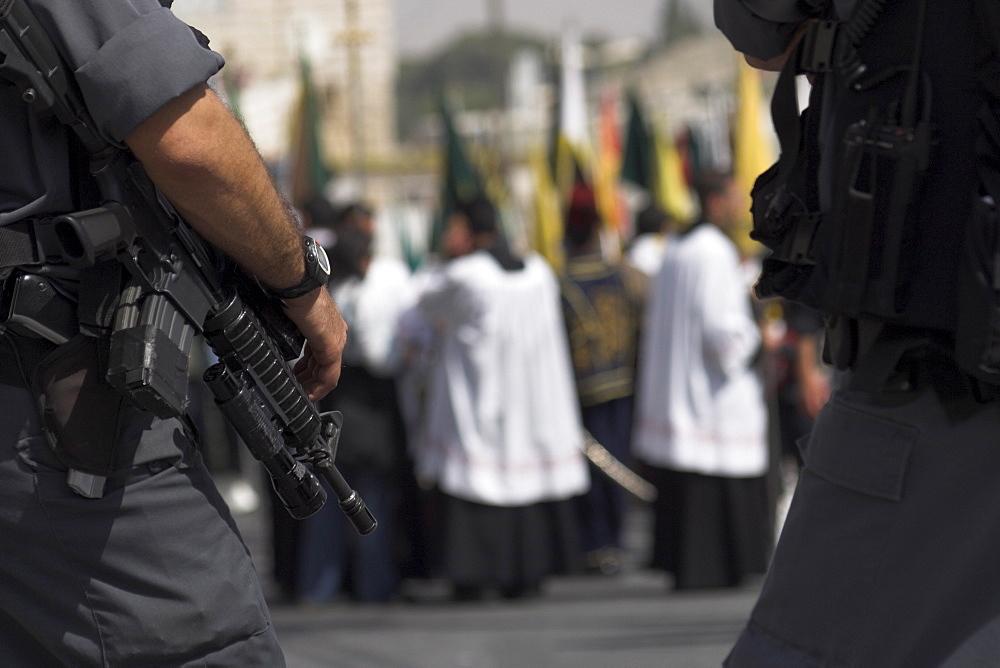 Israeli security forces guarding Palm Sunday Catholic Procession, Mount of Olives, Jerusalem, Israel, Middle East