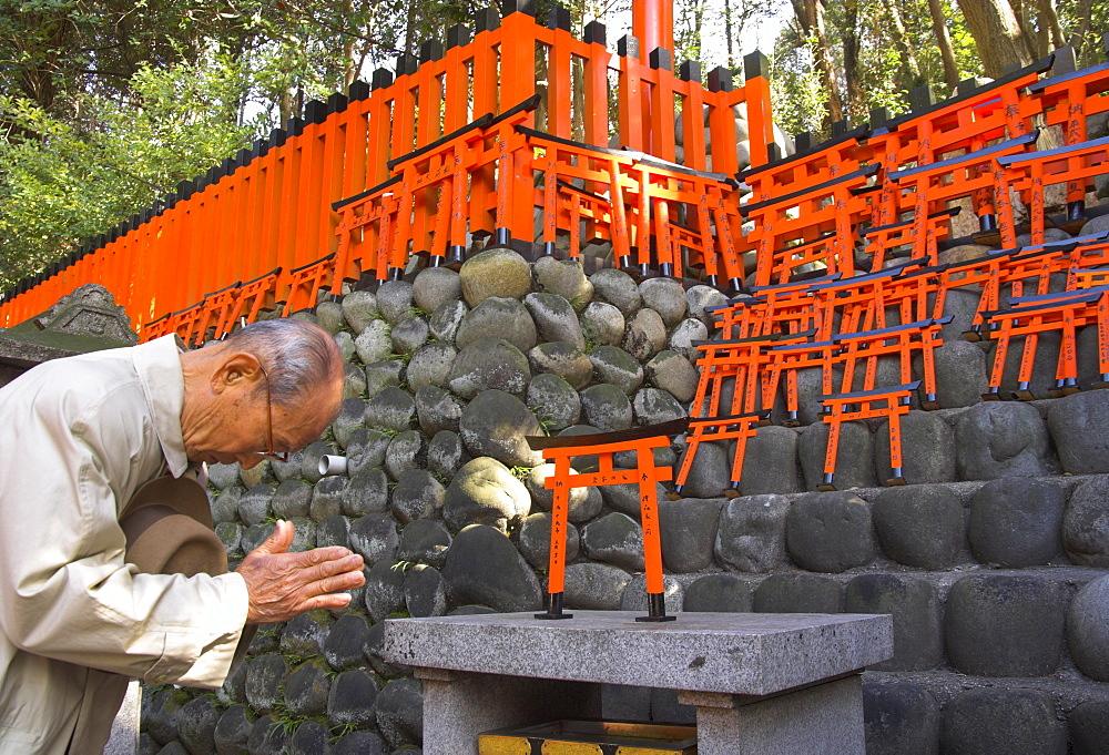 Pilgrim praying at altar with miniature orange toriis in background, Fushimi Inari Taisha shrine, Kyoto, Kansai, Honshu, Japan, Asia