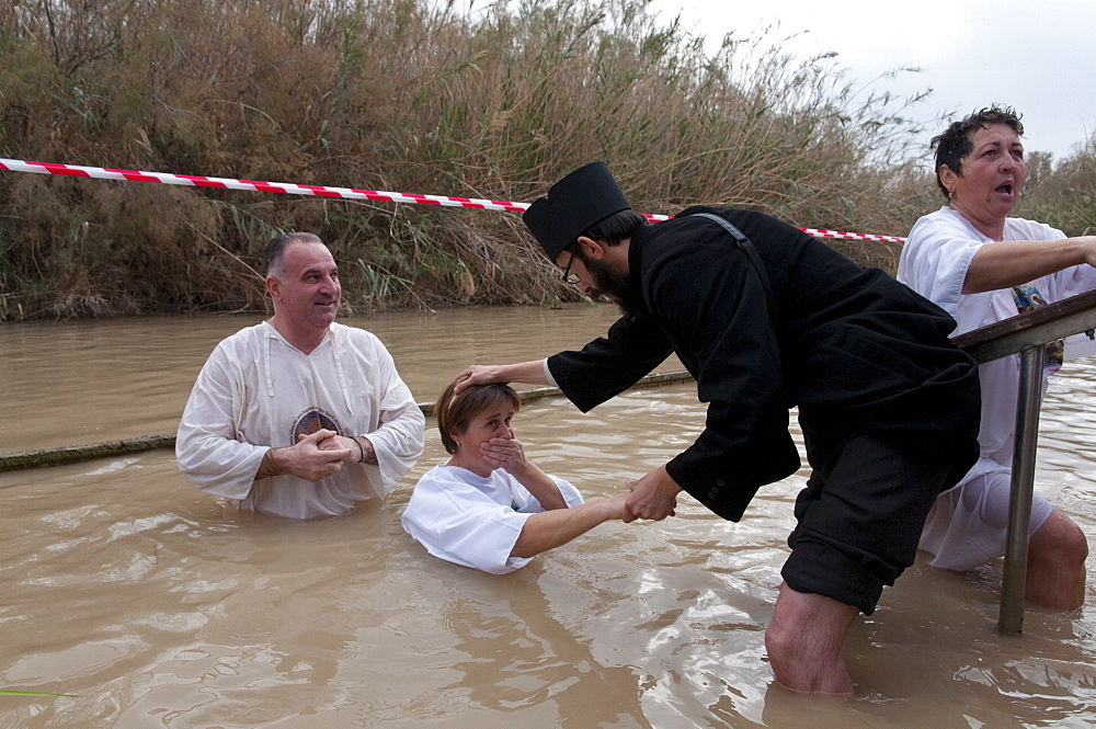 Epiphany Orthodox celebrations at the baptismal site of Qasr el Yahud, Jordan River, Israel, Middle East