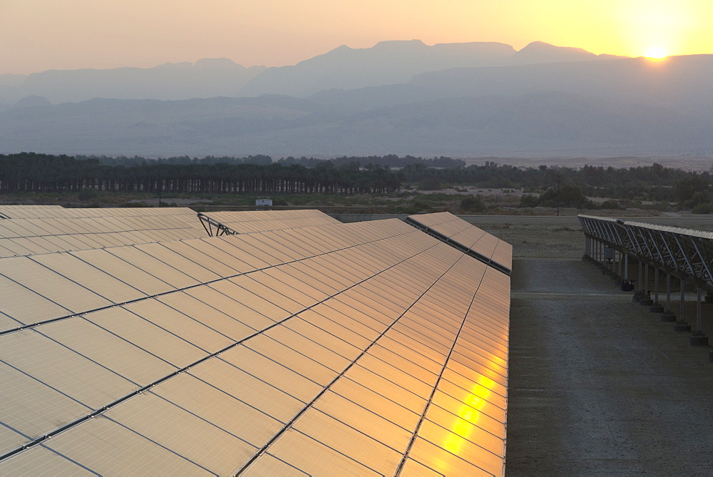 Solar panel field at sunrise in Kibbutz Ketura, Arava Valley, Israel, Middle East
