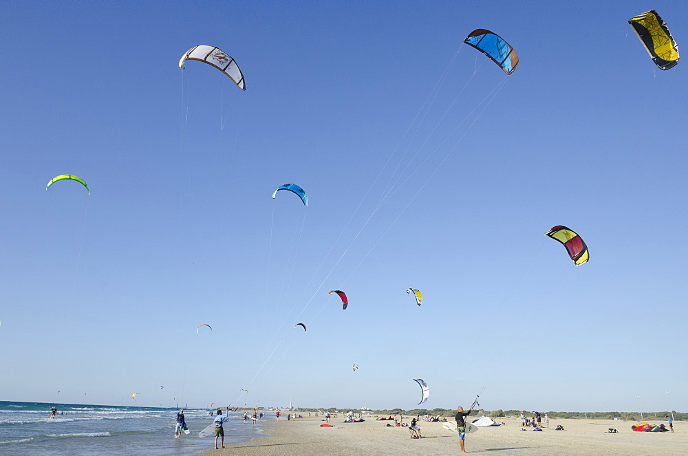 Kite surfing on Yanai beach, Israel, Middle East