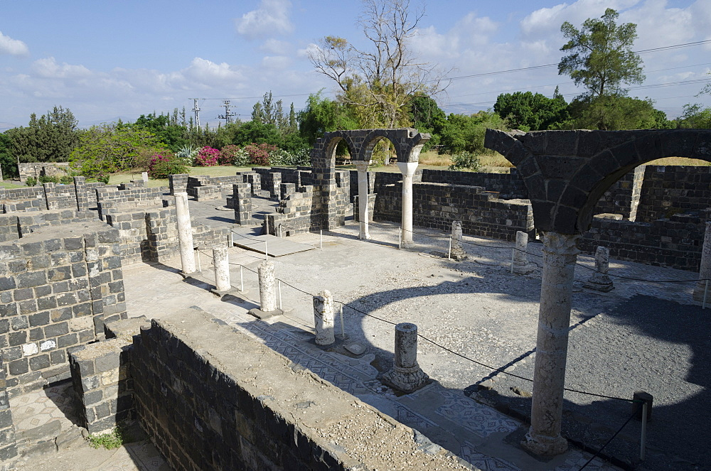 The Byzantine church at Kursi archaeological site, Sea of Galilee, Israel, Middle East - 557-3388