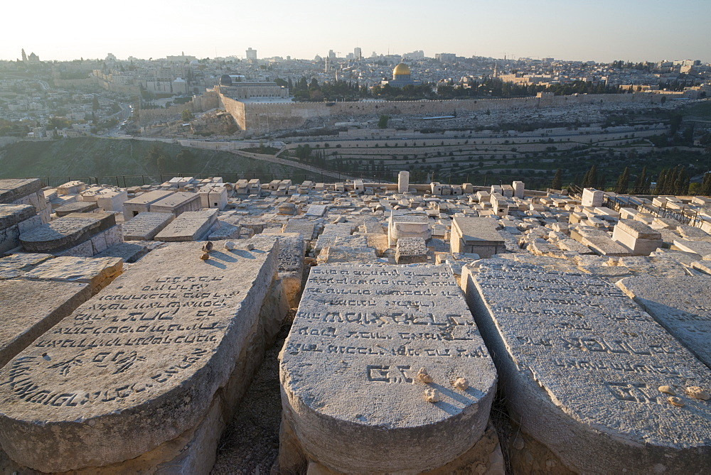 Tombstones on the Mount of Olives with the Old City in Background, Jerusalem, Israel, Middle East