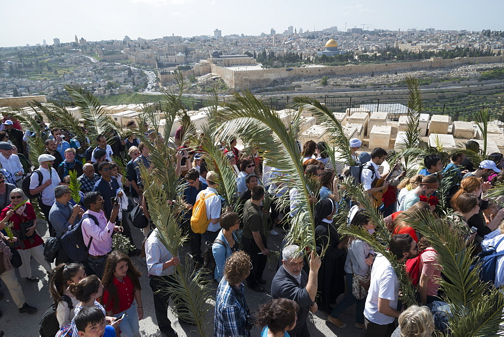 Palm Sunday catholic procession, Mount of Olives, Jerusalem, Israel, Middle East