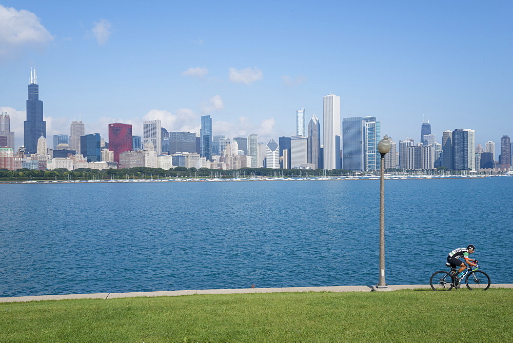 Chicago skyline from the Planetarium, Lake Michigan, Illinois, United States of America, North America