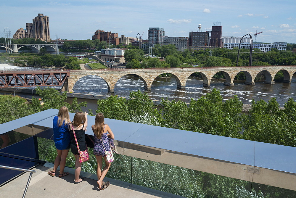 View from the endless bridge, Guthrie bridge, Minneapolis, Minnesota, United States of America, North America