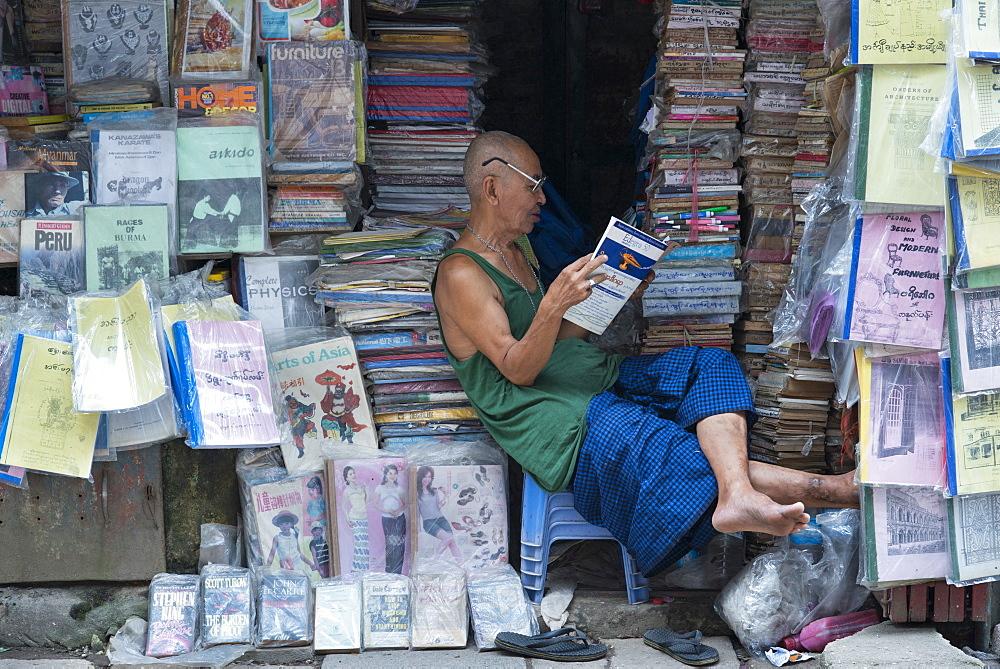 Street bookstore, Yangon (Rangoon), Myanmar (Burma), Asia