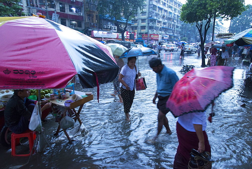 Heavy rain in the streets of Yangon (Rangoon), Myanmar (Burma), Asia
