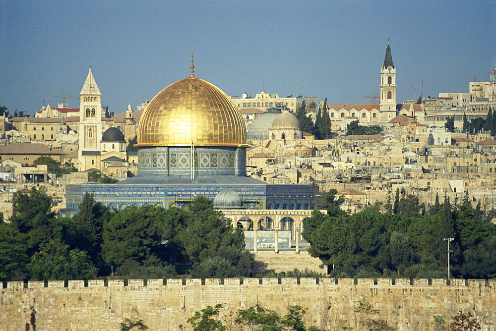 Dome of the Rock and Temple Mount from Mount of Olives, UNESCO World Heritage Site, Jerusalem, Israel, Middle East