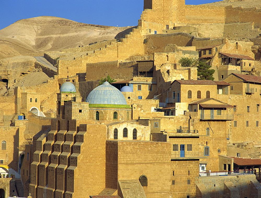 Buildings at the Mar Saba Orthodox Monastery near Bethlehem, in the Judean Desert, Israel, Middle East