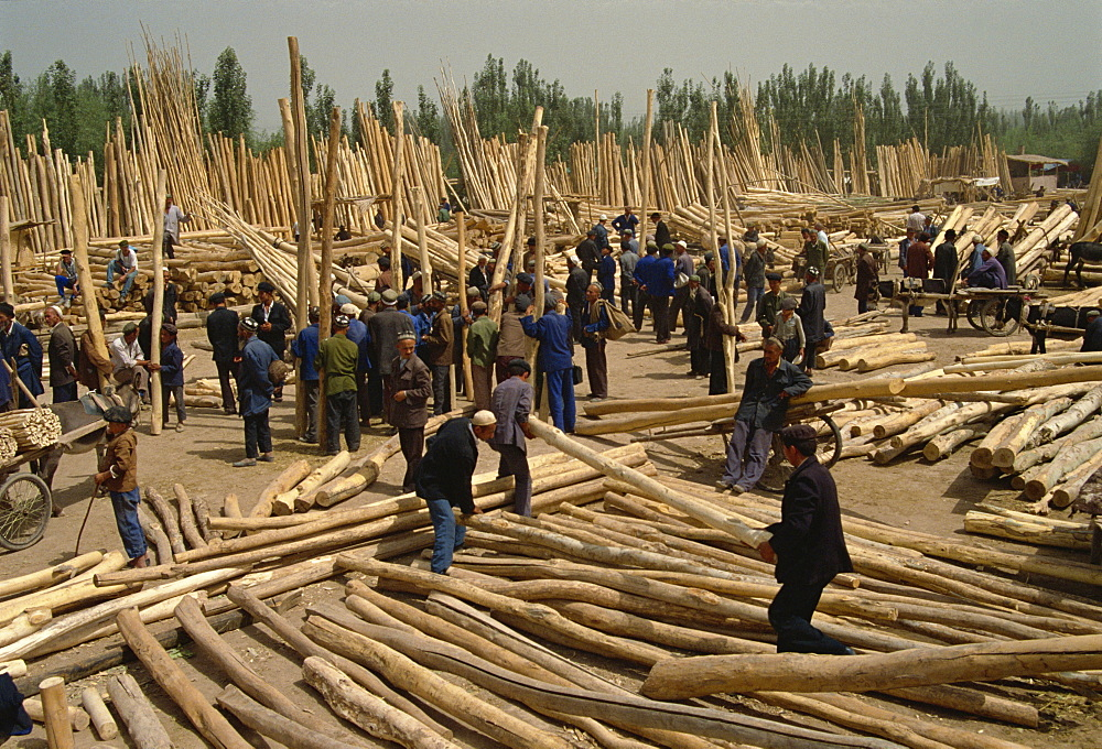 Timber area, Sunday Market, Kashi, China, Asia - 574-261