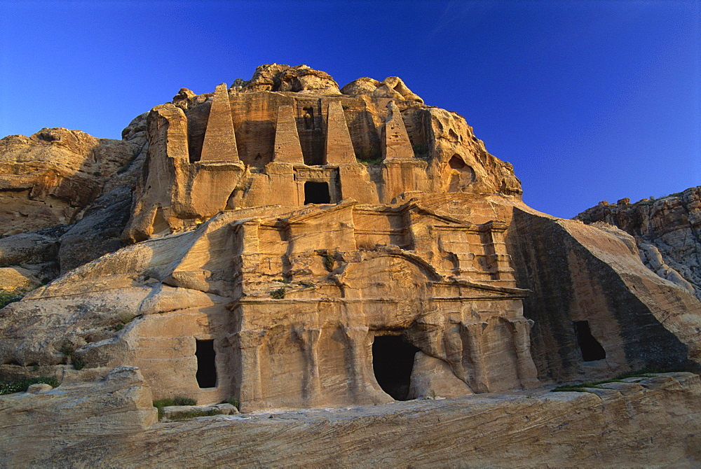 Obelisk tomb and Bab Es-Siq Tricinium tomb, Petra, UNESCO World Heritage Site, Jordan, Middle East - 574-729