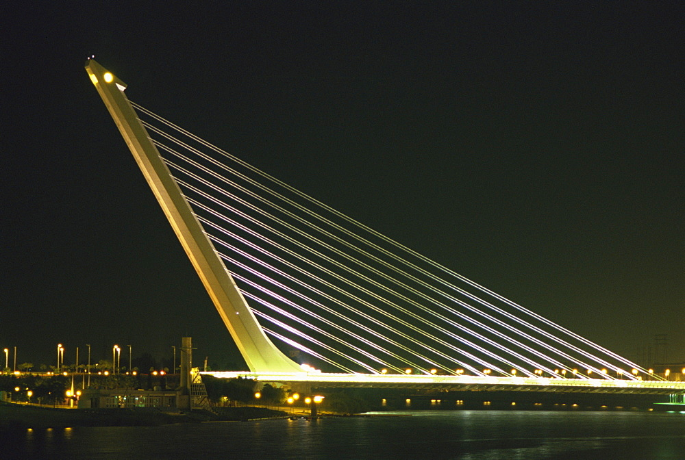 Alamillo Bridge, built for Expo 92, Seville, Andalucia, Spain, Europe - 574-984
